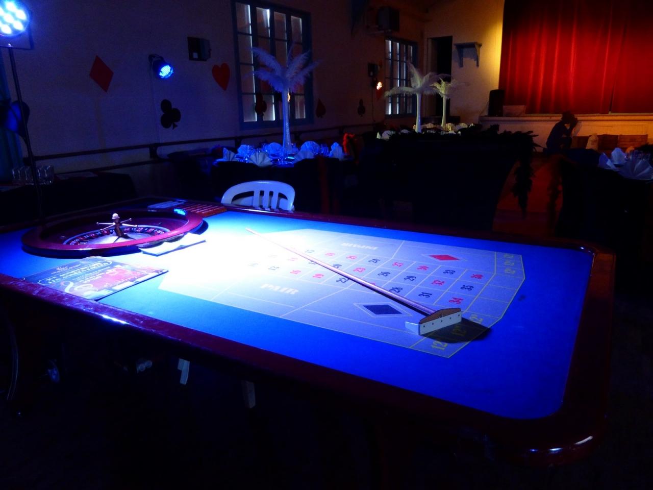 Soirée casino années folles et table de jeu